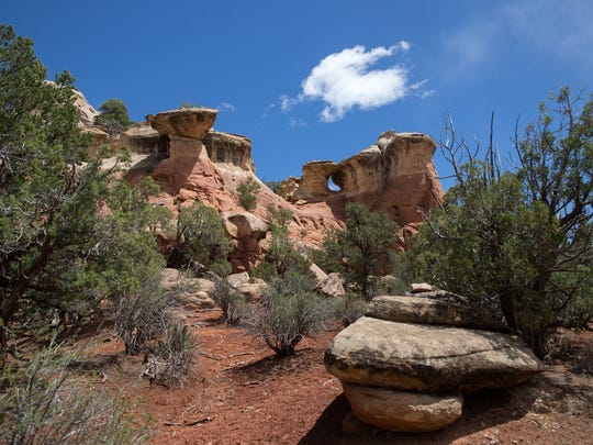 Rock formations along the Sand Canyon Trail at the Canyons of the Ancients National Monument in  Cortez, Colo.