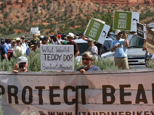 Bears Ears supporters wait for U.S. Interior Secretary Ryan Zinke, Monday, May 8, 2017, at Butler Wash southwest of Blanding, Utah.