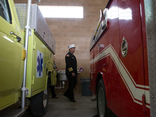 San Juan County Fire Chief Craig Daugherty leads a tour of the new station Tuesday.