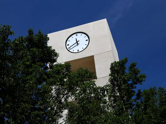 The San Juan College clock tower is pictured in a file