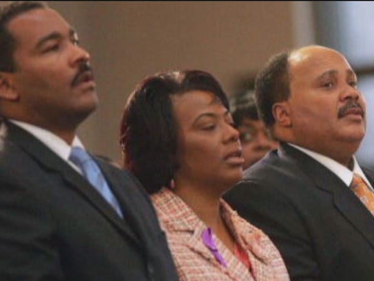 From left: Dexter King, Bernice King and Martin Luther King III