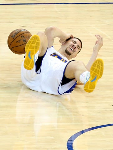 Golden State Warriors guard Klay Thompson suffered