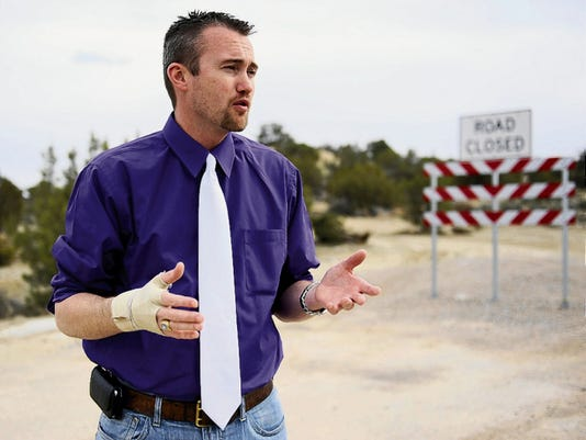 Josh Ray, Aztec's city manager, talks on March 13, 2014, about the arterial route off of Navajo Dam Road in Aztec.