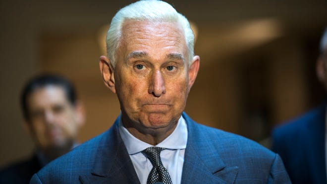 Roger Stone, an associate of President Trump, speaks to the media after answering questions from the House Intelligence Committee's Russia probe in Washington, Sept. 26, 2017.