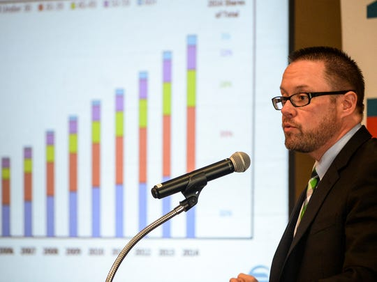 """Andrew Hill, economist at the Federal Reserve Bank of Philadelphia, says he would not forecast a recession for 2016, because 'the economy seems to be growing."""" Hill was one of the speakers at the Lebanon Valley Chamber of Commerce Economic Forecast Breakfast at the Alden Place Clubhouse in Cornwall on Thursday, Jan. 21, 2016."""