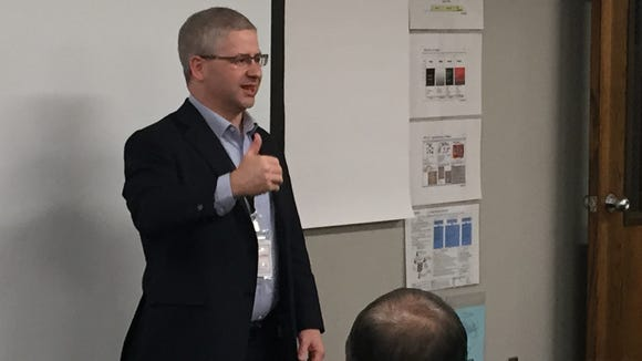 Tenth District U.S. Rep. Patrick McHenry, R-N.C., speaks to workers at Thermo Fisher Scientific's Weaverville plant in this 2015 photo.
