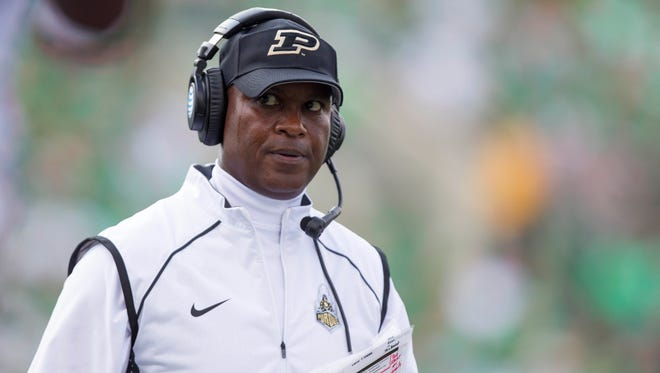 Sep 6, 2015; Huntington, WV, USA; Purdue Boilermakers head coach Darrell Hazell looks on the sidelines during the second quarter against the Marshall Thundering Herd at Joan C. Edwards Stadium.  Mandatory Credit: Ben Queen-USA TODAY Sports