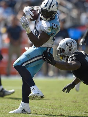 Titans running back DeMarco Murray (29) gains some yards in the second half against the Raiders at Nissan Stadium Sunday, Sept. 25, 2016, in Nashville, Tenn.