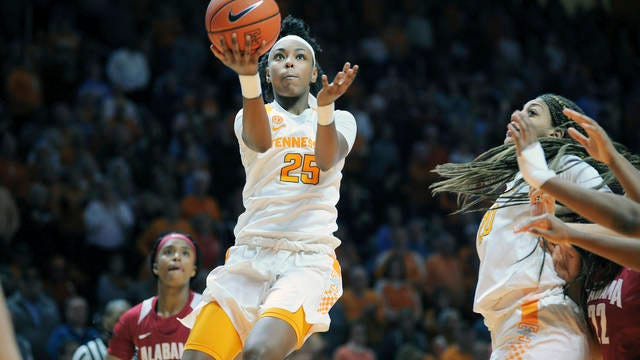 Coming off their last-second victory Monday night over visiting Alabama, Jordan Horston (25) and the Lady Vols head north Thursday to renew their rivalry with UConn.