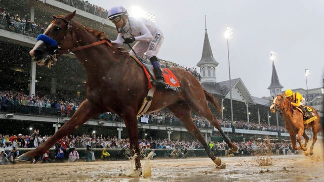 Mike Smith rides Justify to victory during the 144th running of the Kentucky Derby horse race at Churchill Downs on May 5, 2018 in Louisville, Ky.