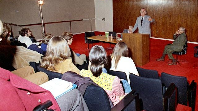 President Lyndon B. Johnson speaks to students at the LBJ School of Public Affairs in December 1972.