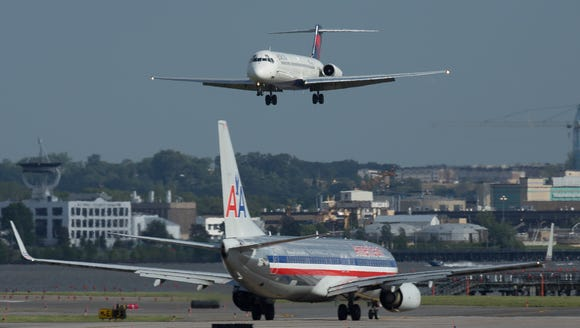 An American Airlines Boeing 737 taxis within view of