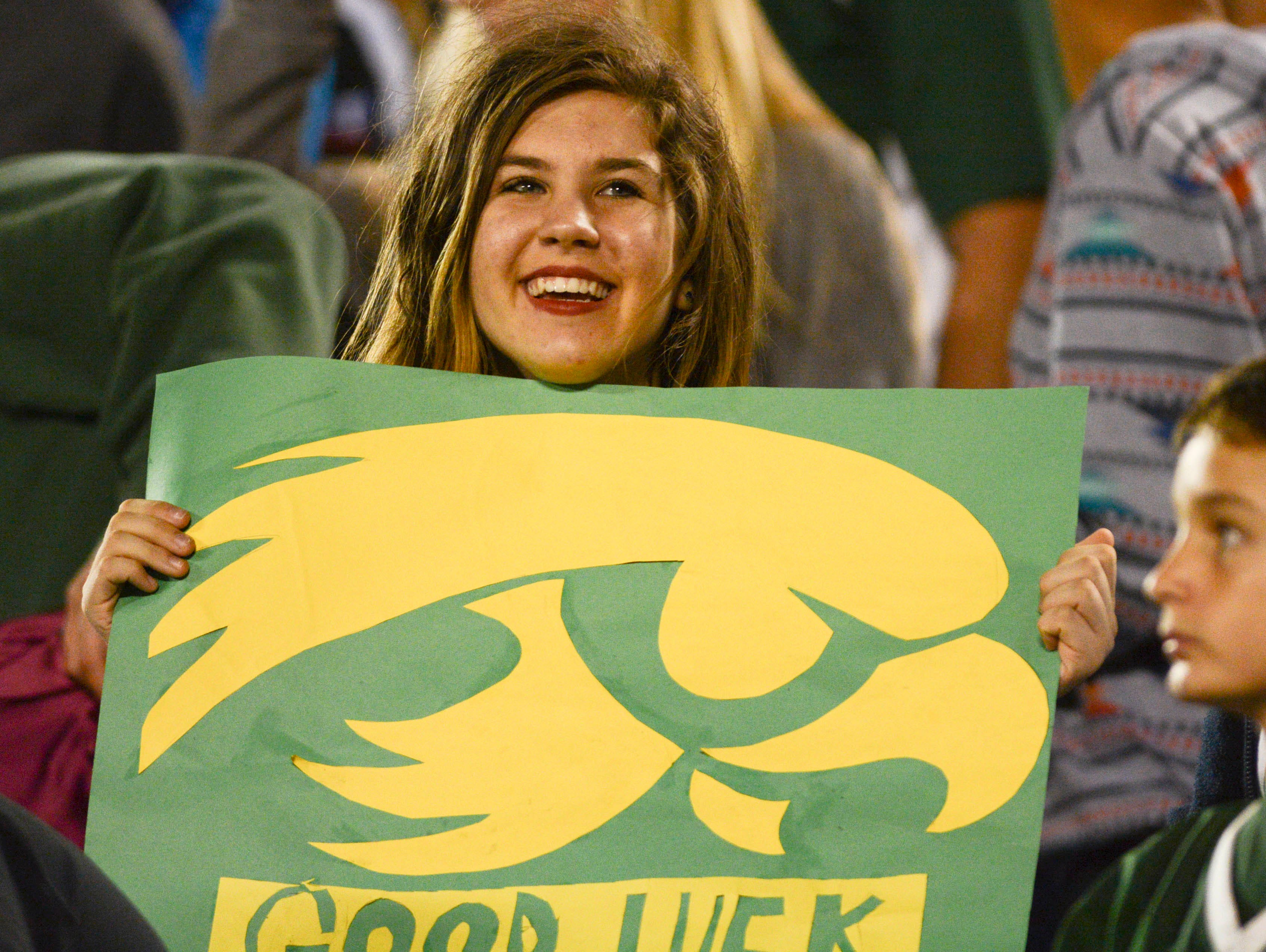 A Viera fan cheers for the Hawks during Friday's game.