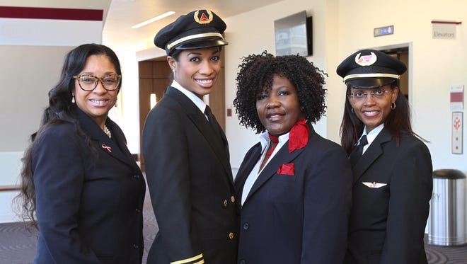 The first all-female African-American flight crew spoke in Nashville for the first time since they made history in 2009. They are, from left, Diana Galloway, Captain Rachelle Jones Kerr, Robin Rogers and First Officer Stephanie Grant.