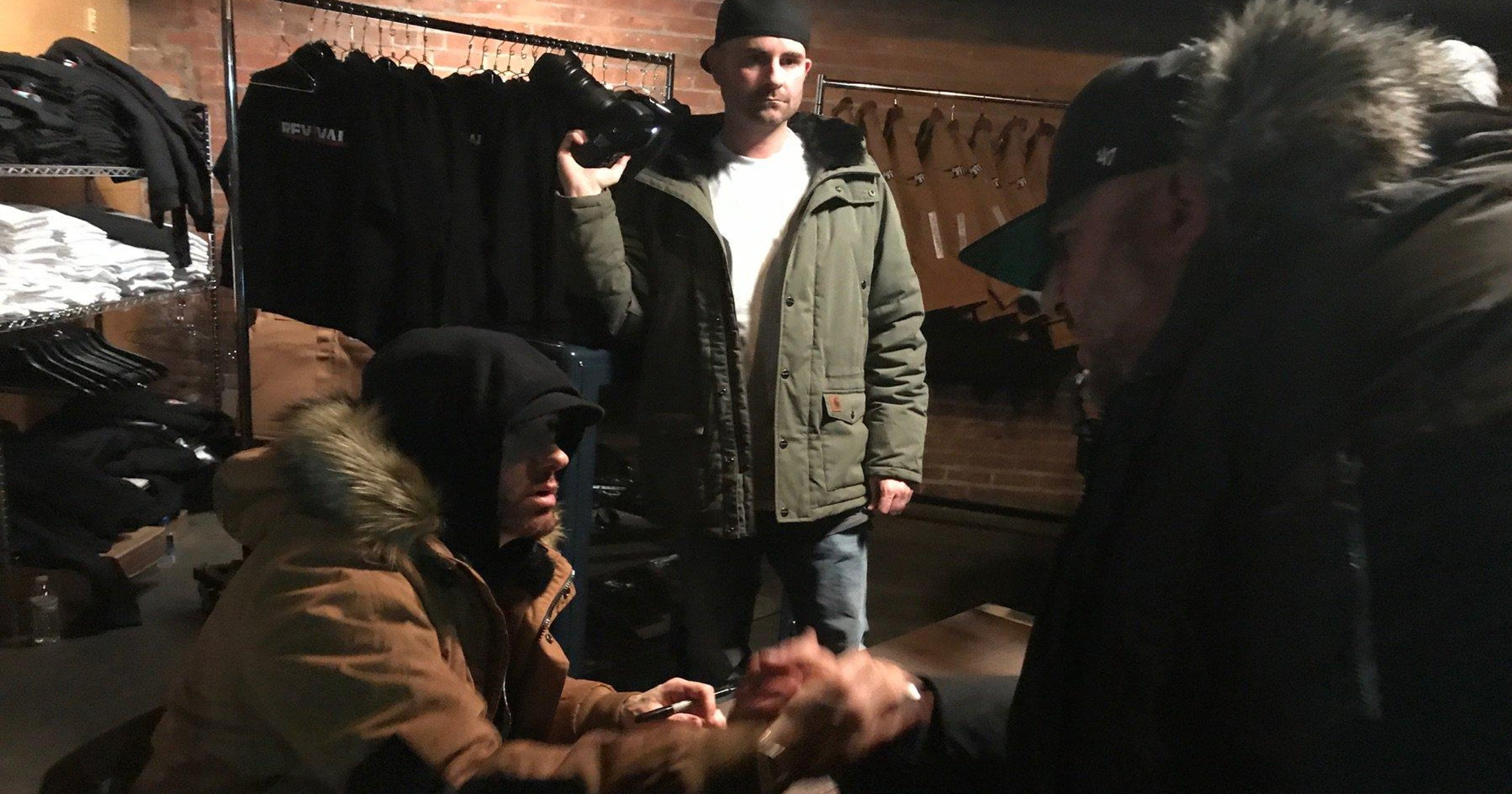 d99879f2e37b5 Eminem drops by  Mom s Spaghetti  pop-up at The Shelter