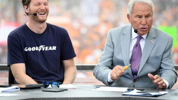 Sep 10, 2016; Bristol, TN, USA; NASCAR Sprint Cup driver Dale Earnhardt Jr. joins ESPN analyst Lee Corso of College Gameday to make his guest game picks prior to the Battle at Bristol football game between the Virginia Tech Holies and Tennessee Volunteers at Bristol Motor Speedway. Mandatory Credit: Christopher Hanewinckel-USA TODAY Sports ORG XMIT: USATSI-269300 ORIG FILE ID: 20160910_pjc_ah2_014.JPG