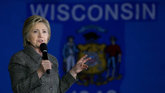 Democratic presidential candidate Hillary Clinton speaks during her campaign stop at the Riverside Ballroom in Green Bay on Tuesday, March 29, 2016.