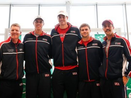 U.SA Davis Cup Team for the first round vs. Serbia included, from left, coach Jim Courier, Sam Querrey, John Isner, Ryan Harrison and Steve Johnson