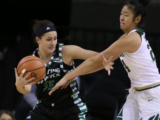 North Dakota's Fallyn Freije, left, fights off Baylor guard Natalie Chou during the first half of an NCAA college basketball game Tuesday, Dec. 5, 2017, in Waco, Texas. (Rod Aydelotte/Waco Tribune Herald, via AP)