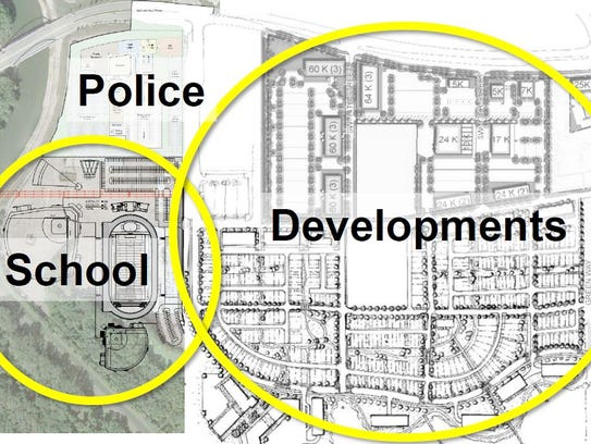 A rendering shows how the proposed police station and