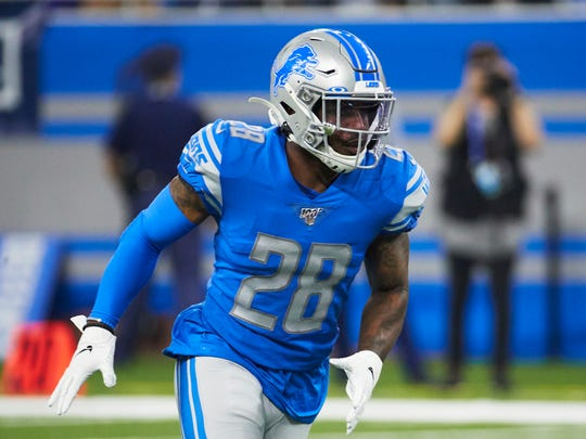 Detroit Lions defensive back Quandre Diggs (28) in action against the Los Angeles Chargers during an NFL football game, Sunday, Sept. 15, 2019, in Detroit. (AP Photo/Rick Osentoski)