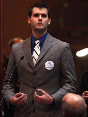 Zach Wahls speaks during a public hearing on same sex marriage in the House Chambers
