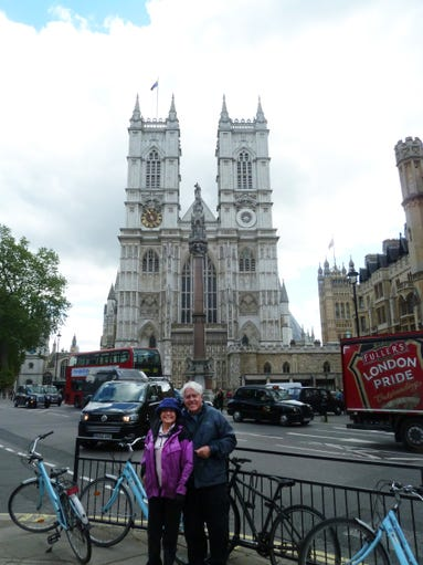 Gary and Julie Pierce in front of Westminster Abbey