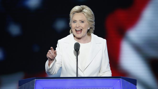Democratic Presidential nominee Hillary Clinton speaks on stage July 28, 2016, during final day of the Democratic National Convention at the Wells Fargo Center in Philadelphia, Penn.