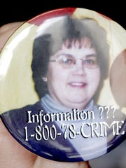 Buttons made for homicide victim Connie Boelter March 27, 2007.