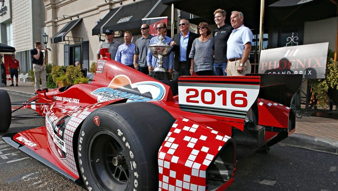 Current and former IndyCar drivers gather around an Indy race car outside true Capitol Grille at the Biltmore during the announcing of the 2016 Phoenix Grand Prix that will be held at PIR on April 2, 2016, as an indy car event prior to the Indianapolis 500 Phoenix  on October 27, 2015.