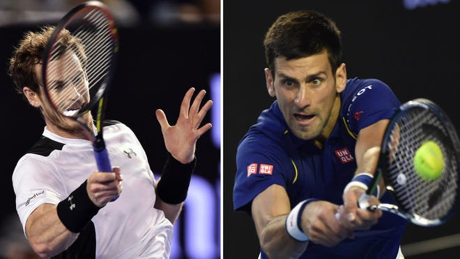 In this combination of photographs, Andy Murray (L) plays a forehand return during his semifinal match at the Australian Open, and Novak Djokovic (R) plays a backhand return during his semifinal match.
