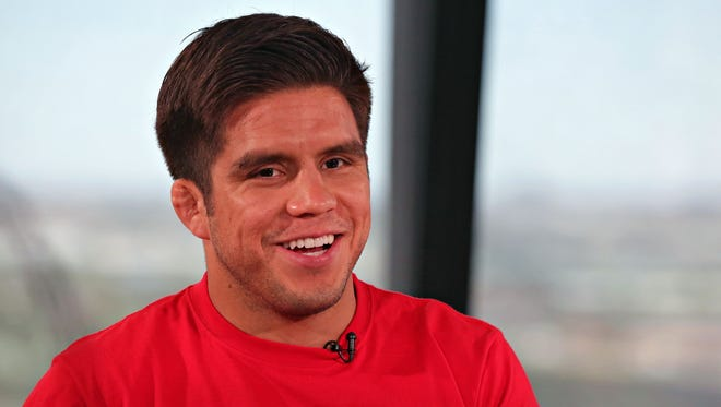 Former Olympic gold medalist in wrestling. Henry Cejudo, turned UFC flyweight fighter, in the republic studios in Phoenix on April 18, 2016.