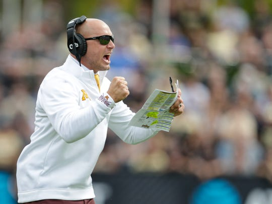 Minnesota head coach P.J. Fleck celebrates a touchdown during the first half of an NCAA college football game against Purdue in West Lafayette, Ind., Saturday, Sept. 28, 2019. (AP Photo/Michael Conroy)