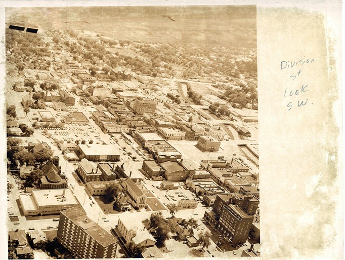 1980 aerial photographs of Fond du Lac. Division Street looking southwest.