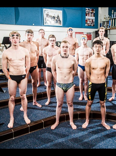 From left: Central York's Jesse Tate, Central York's Alec Peckmann, Gettysburg's Jared Herr, Central York's Garrett Sommer, Red Lion's Dylan North, Dallastown's Spencer Hill, Dallastown's Jacob Stoner, Red Lion's Alex Sun, Dallastown's Logan Brockway, York Suburban's Karl Schmittle, Dover's Casey Marshall, York Suburban's Aidan Fryar and York Suburban's Matt Spinello. Not pictured: Dallastown's Grant Wertz.  GameTimePA's all-star swimmers and divers. Picture taken Tuesday, March 21, 2016, at Northeastern.