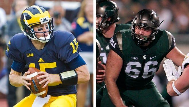Michigan quarterback Jake Rudock, left, and Michigan State center Jack Allen