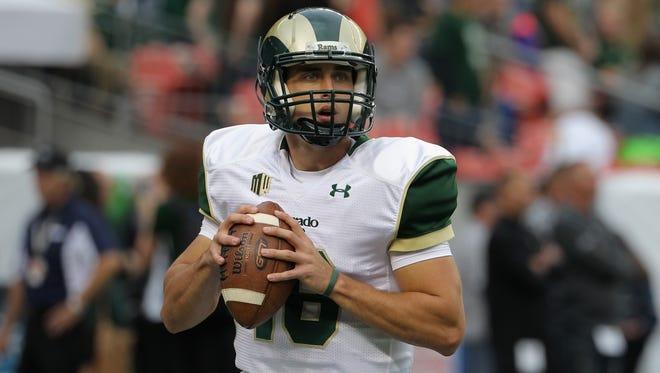 Colorado State quarterback Garrett Grayson warms up prior to facing the Colorado Buffaloes on Aug. 29.