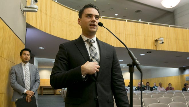 Conservative writer Ben Shapiro speaks during the first of several legislative hearings planned to discuss balancing free speech and public safety Tuesday in Sacramento. Shapiro told lawmakers that they must protect speech even if they disagree with the message.