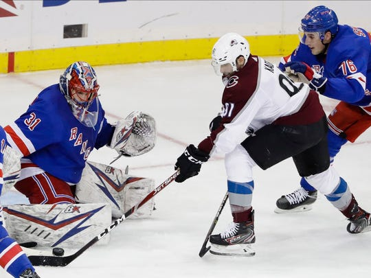 New York Rangers' Igor Shesterkin (31) stops a shot by Colorado Avalanche's Nazem Kadri (91) during the third period of an NHL hockey game Tuesday, Jan. 7, 2020, in New York. The Rangers won 5-3. (AP Photo/Frank Franklin II)
