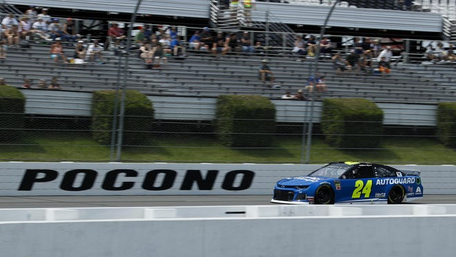 William Byron drives down the front stretch during qualifying for Sunday's NASCAR Cup Series auto race at Pocono Raceway, Saturday, June 1, 2019, in Long Pond, Pa.