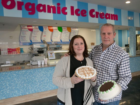 Michelle and Brian McMullin, Oceanport, in their store Gracie and Dudes Organic Ice Cream located in Pier Village in Long Branch.
