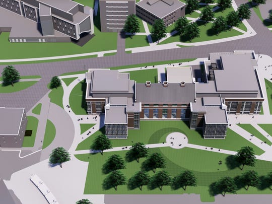 An aerial rendering of Michigan State University's