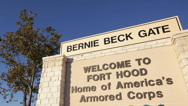 This file photo shows the sign outside one of the entrances of the Fort Hood US Army Post near Killeen, Texas.