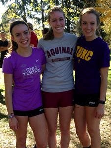 Former Livonia Churchill long-distance running standouts (from left) Bethany Pilat, Sydney Anderson and Kerigan Riley, all of whom will be reuniting for Saturday's NAIA Women's Cross Country Championship in Lawrence, Kansas.