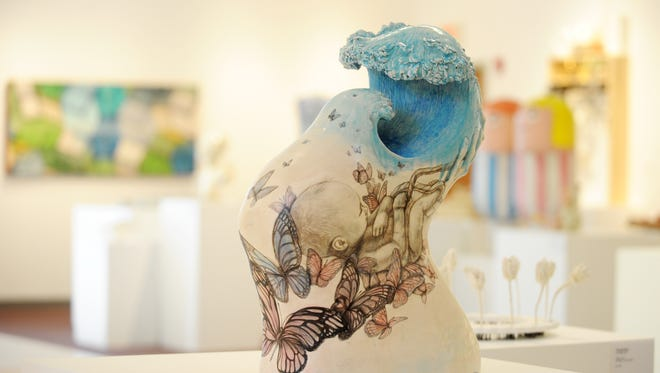 Ascension, by Heesoo Lee of Helena, Montana, is one of more than 60 ceramic pieces up for the Zanesville Prize for Contemporary Ceramics. The prizes, including a $20,000 best-of-show prize, will be awarded on Friday.