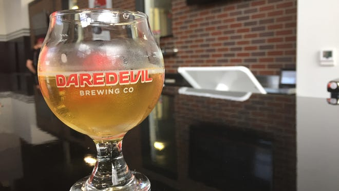 A sample of Daredevil Brewing Co.'s Vacation Kolsch in its taproom in Speedway.