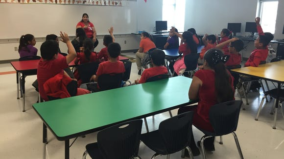 Mission Ridge Elementary School students learn signs for different foods and drinks in an American Sign Language class on Oct. 26.