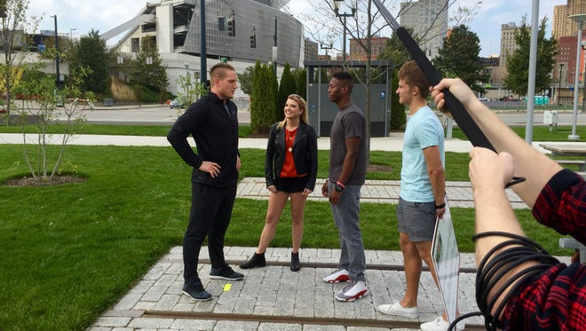 """Cincinnati Bengals AJ Hawk with cast members Alexys, Ellis and Chris. The cast of """"The Valley"""" participated in a charity challenge within the show to raise money for AJ's charity Hawks Locks for Kids. This is featured in Season 2, Episode 9, which aired Nov. 8."""