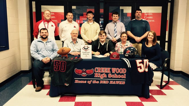 Creek Wood High senior, Brenden Dickens, recently signed with the football program at Cumberland University in Lebanon, Tenn.