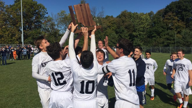 Central Catholic celebrates its first boys soccer sectional championship.